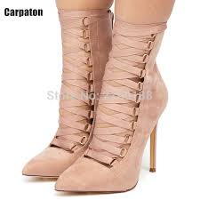 ribbon heels pink black ribbon lace up pointy stiletto booties high heels women