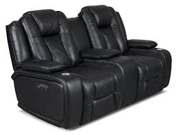Black Leather Reclining Loveseat Lonzo Leather Look Fabric Power Reclining Loveseat U2013 Black Power