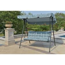 Free Standing Hammock Walmart by Mainstays Willow Springs Outdoor Swing Blue Seats 3 Walmart Com