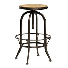 Industrial Adjustable Bar Stools Adjustable Height Varnished Oak Wood Seat Bar Stool With Rounded