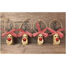 this listing is for a set of 4 wine cork rudolph ornaments with