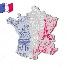 A Map Of France by Map Of France With French Symbols U2014 Stock Vector Iriskana 72348043