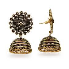kerala style jhumka earrings buy oxidised gold plating handmade jhumka earrings online