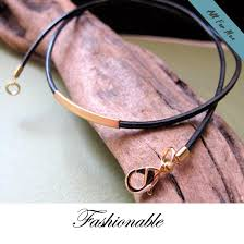 leather gold necklace images Elegant leather choker necklace for men with gold silver tube jpg