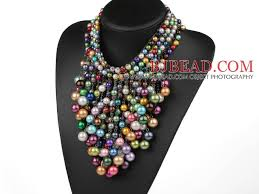 color beads necklace images Multi layer assorted multi color shell beads party necklace jpg