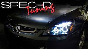 2004 honda accord headlights specdtuning installation 2003 2007 honda accord projector