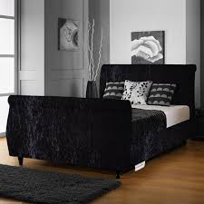 Velvet Sleigh Bed Cbs Letto Crushed Velvet Fabric Sleigh Bed Free Fast Delivery