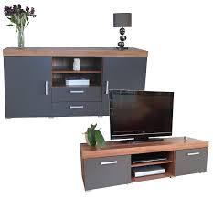 Living Room Furniture Sets Tv Graphite U0026 Walnut Sydney Large Sideboard U0026 Tv Cabinet 140cm Unit