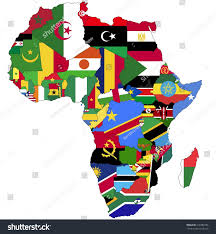 World Map Country Flags Highly Detailed Africa Map Country Flags Stock Vektorgrafik