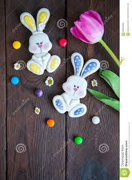 Decorated Easter Bunny Cookies by Decorated Easter Bunny Cookies Colored Candies Tulip Chamomiles