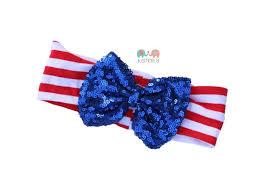 white and blue headband patriotic white blue sequin bow dot baby headband