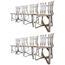 Armless Chairs Internum Vintage Set Of Eight Frank Gehry Hat Trick Armless