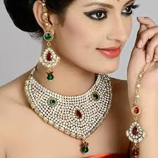 indian bridal jewelry necklace images Indian bridal jewelry necklace studded in zircon diamond kaneesha jpg