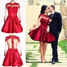 retro elegant high neck puffy dark red short mini prom dresses