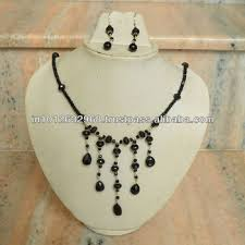 large black beaded necklace images Beads necklace black spinel beads silver necklace set statement jpg