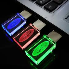 logo ford pen drive 8gb new crystal transparent led flash for ford car logo