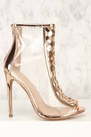 rose gold open toe caged front clear booties faux leather