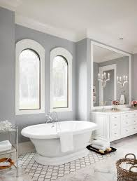 White And Gray Bathroom by Master Bath Remodel In Sherwin Williams Repose Gray Interiors By