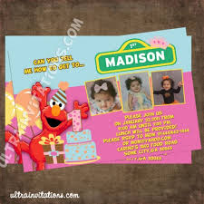 elmo pink cake birthday invitations custom invites