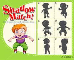 template with shadow matching boy royalty free stock image