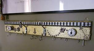 Jewelry Wall Hanger Steampunk Timepiece Jewelry Hanger With Spiders And Floral Accents