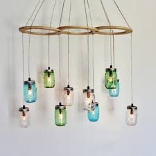 Sea Glass Chandelier Sea Glass Mason Jar Pendant Lights Set From Boots N Gus On Etsy