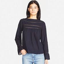 womens cotton blouses cotton pin tuck sleeve blouse uniqlo us
