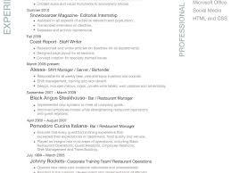 Server Bartender Resume Resume Professional Resume Example