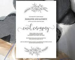 Wedding Ceremony Invitation Wording Invitation Etsy