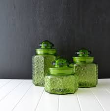 green kitchen canisters green glass canisters vintage kitchen canisters l e smith