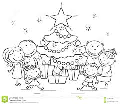 family christmas tree clipart