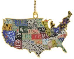 usa license plate map ornament traditional christmas ornaments