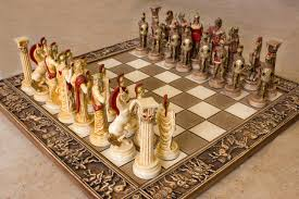 ceramic handmade chess set greek gods of olympus