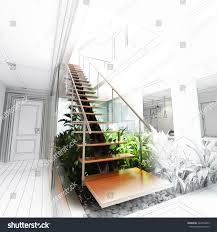 sketch design stair hall atrium 3d stock illustration 448374859