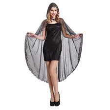 spider web cape hooded costume sheer red silver totally ghoul one size