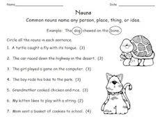 1st grade math and literacy worksheets for february nouns