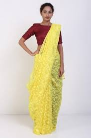 dhakai jamdani saree yellow muslin dhakai jamdani saree with bail motif