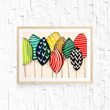 colorful tree art inspired by denmark chevron pattern