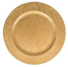 bulk embossed floral pattern gold plastic charger plates 13 in