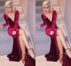 wine red velvet evening dresses deep v neck long sleeves high