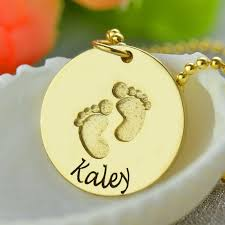 Baby Name Necklace Gold Gold Color Baby Name Necklace With Footprints Hand Stamped Baby