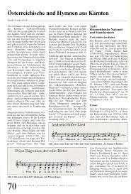 Die K He Hymne Und Heimatlied Kärnten Landeshymne Kunst Und Kultur Im
