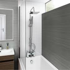 ibathuk modern chrome riser rail mixer square shower head kit