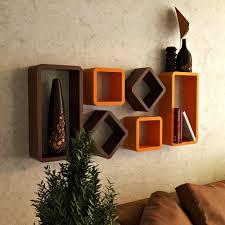Wall Furniture by Usha Furniture Wall Shelf Rack Set Of 6 Hexagon Shape Storage Wall