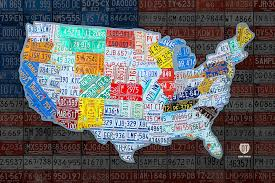 us map for sale of the united states in vintage license plates on american flag
