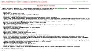 hotel receptionist work experience certificate