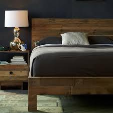 Brown Wood Bed Frame Emmerson Reclaimed Wood Bed West Elm