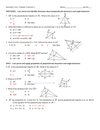 geometry test u2013chapter 5 version 1 name