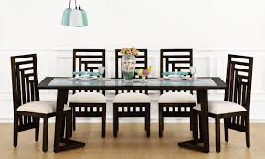Glass Top Dining Table And Chairs Buy Anders 8 Seater Dining Table Glass Top Online In India