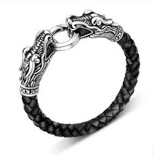 man titanium bracelet images Leather tibetan silver men bracelet titanium fashion male vintage jpg